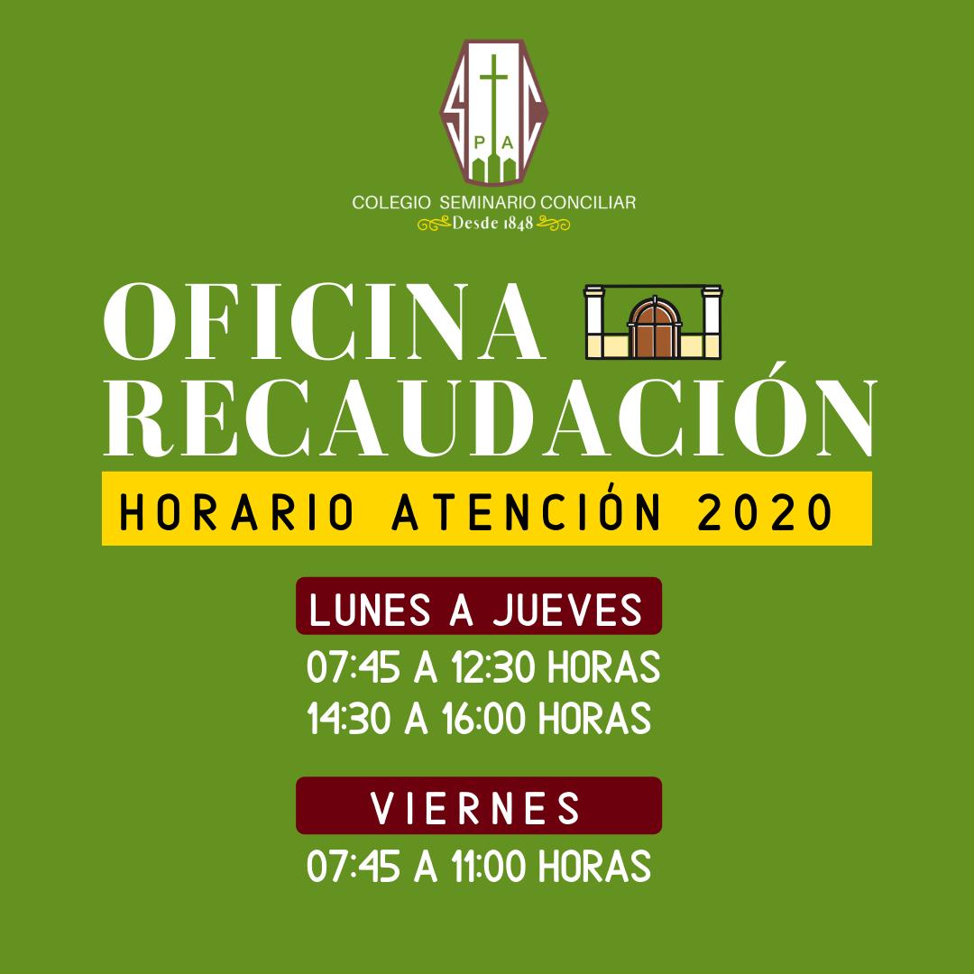 HORARIO RECAUDACIÓN 2020