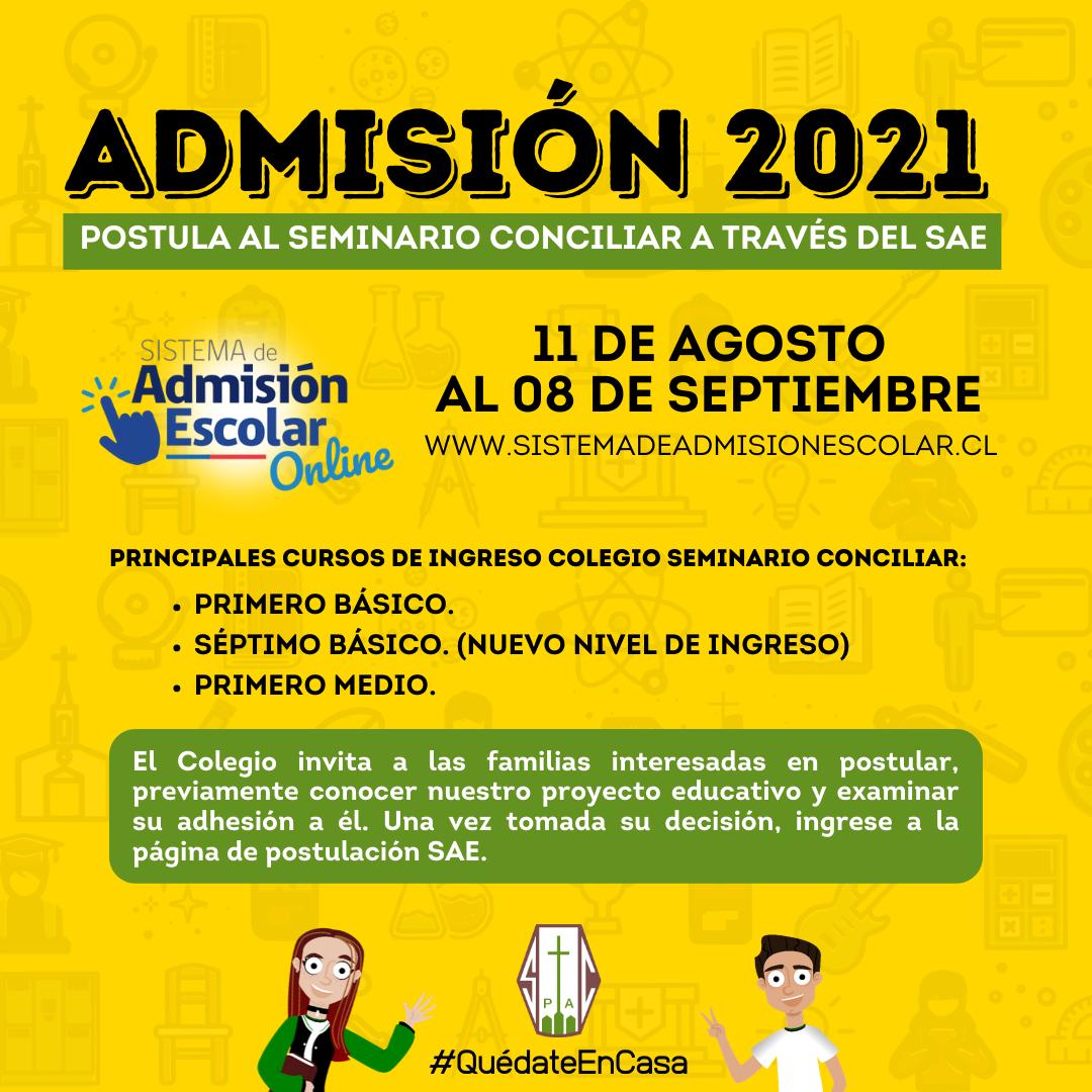 PROCESO ADMISIÓN 2021 COLEGIO SEMINARIO CONCILIAR DE LA SERENA