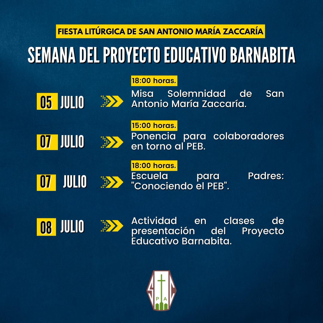 COLEGIO INVITA A PARTICIPAR DE LA SEMANA DEL PROYECTO EDUCATIVO BARNABITA