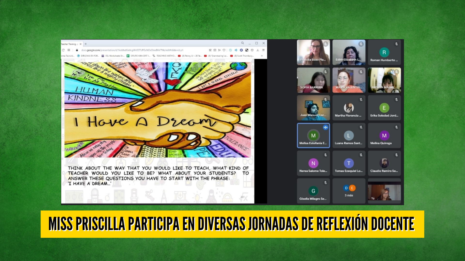 MISS PRISCILLA PARTICIPA EN DIVERSAS JORNADAS DE REFLEXIÓN DOCENTE